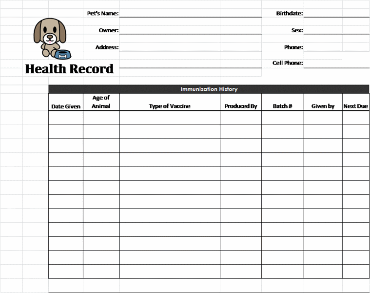 Pet health record template pet care pinterest pet for Pet health record template