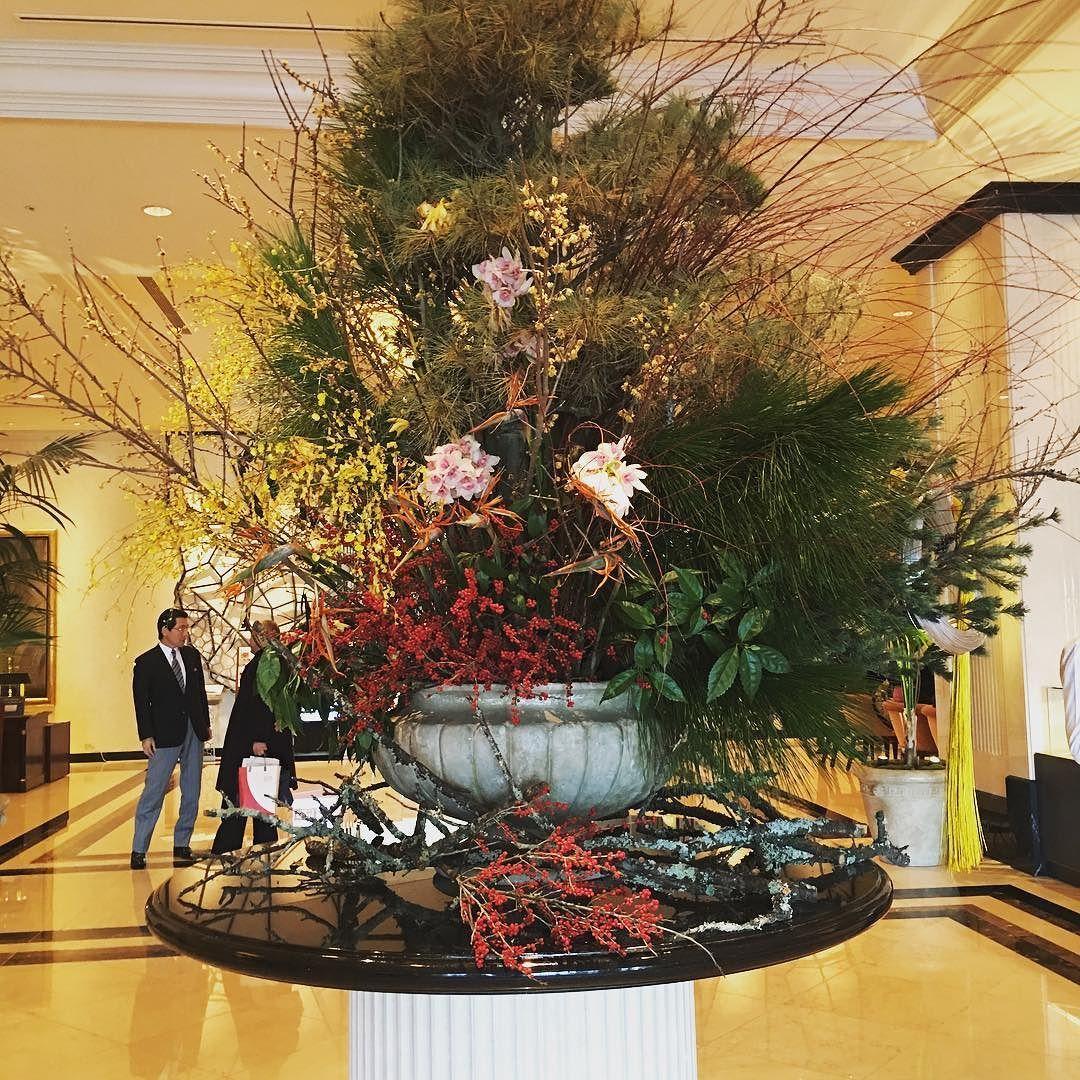 正月仕様 ホテルロビー 名古屋マリオットアソシア フラワーアレンジメント, ホテルロビー, お正月 飾り