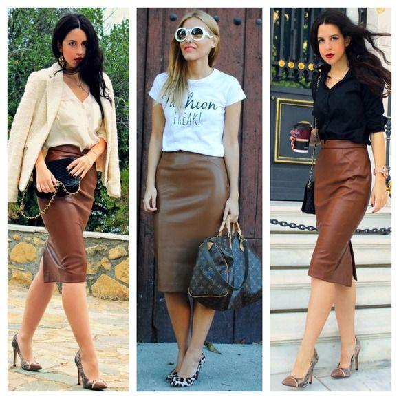 🚫SOLD🚫Zara Leather Pencil Brown Skirt | Zara dresses, Dress ...