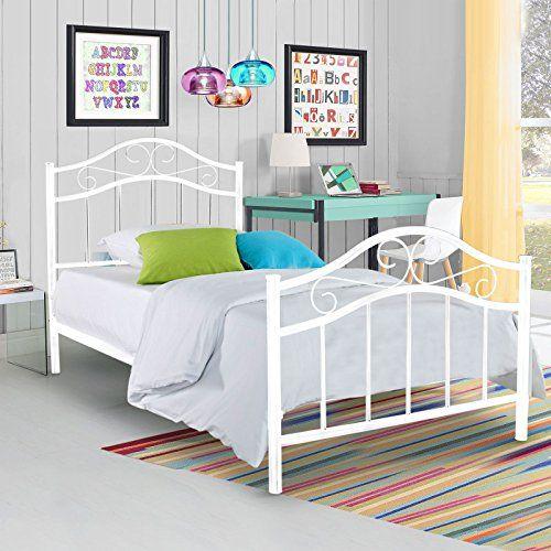 Metal Platform Bed Frame Twin Size Steel Mattress Foundation Kids ...