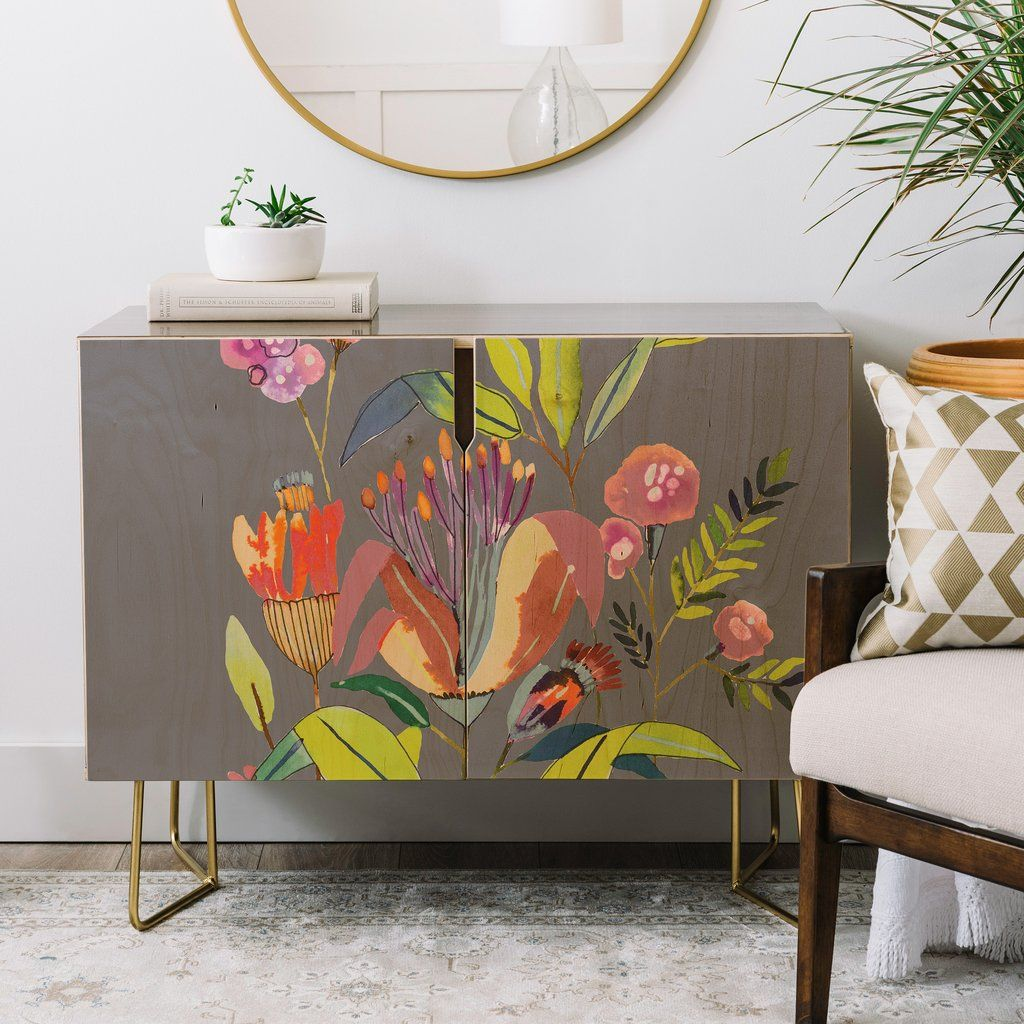 Cayenablanca Blooming Flowers Credenza Deny Designs Home Accessories Painted Furniture Decor Furniture Diy