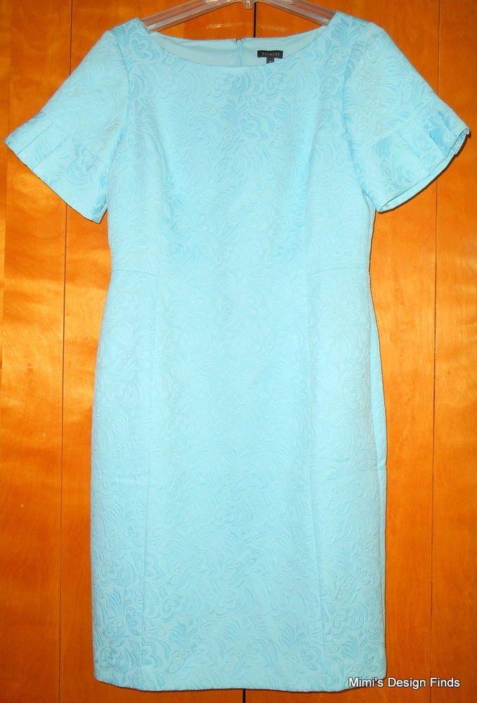 4c6526e964 TALBOTS Blue Sheath Dress Short Sleeve SZ 8 Cotton Blend Jacquard ...