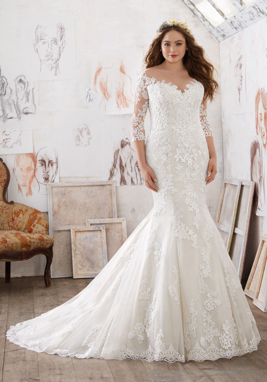 Beautiful Mia Julietta Mori Lee Designer Wedding Dresses and Bridal Gowns by Morilee This Plus Size Off the Shoulder Illusion Wedding Gown Features Exquisite Lace