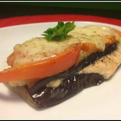 Chicken Lasagna Healthy Recipe Eggplant chicken eggplant tomato cheese layered