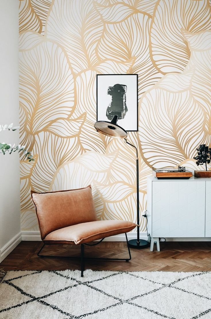 Wallpaper doesn't have to take over a room gold palm