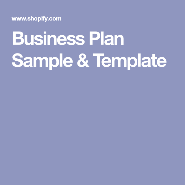 Business Plan Sample  Template  Biz Research