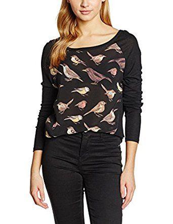 Yumi Women's Bird Print High Low Long Sleeve Tops: Amazon.co.uk: