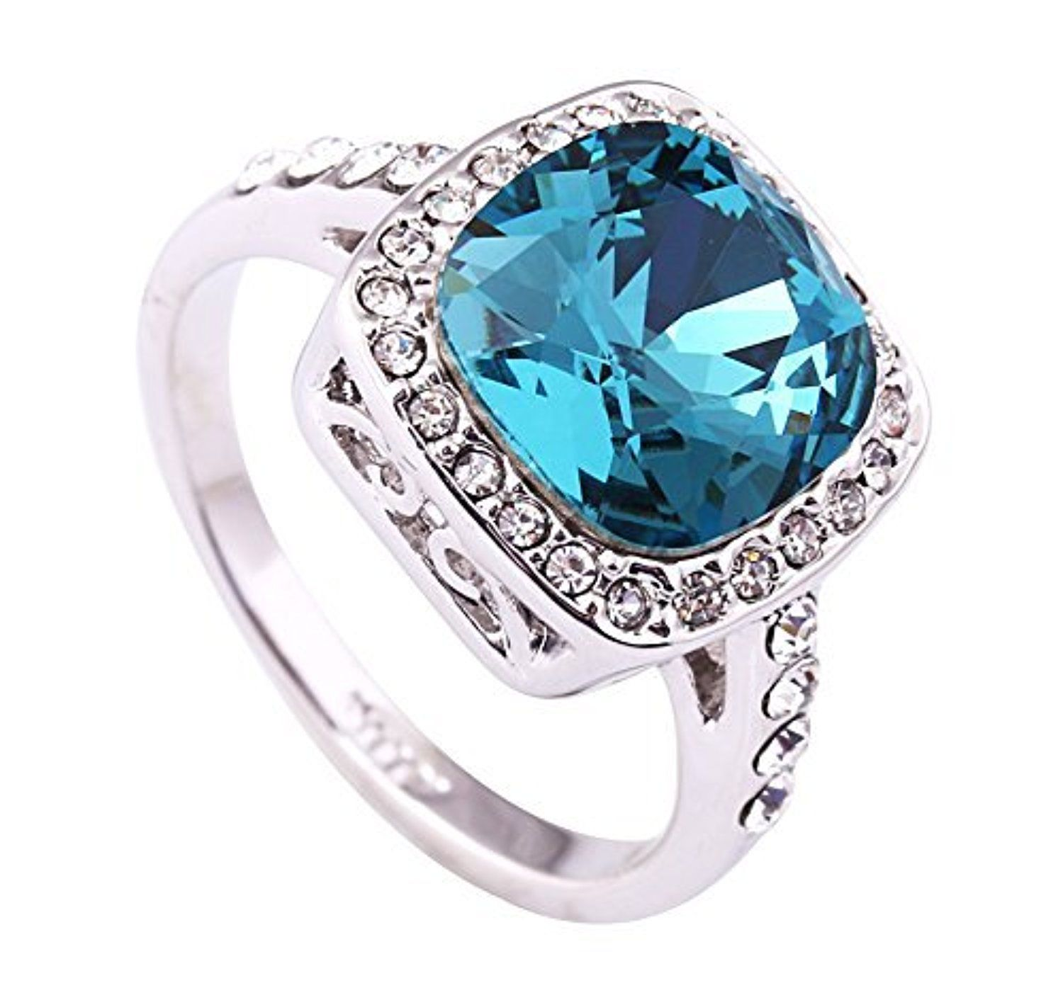 Acefeel Retro 1.5ct Lake Blue Austrian Crystal Engagement Ring 18k White Gold Plated Ring R086 by Acefeel -- Awesome products selected by Anna Churchill