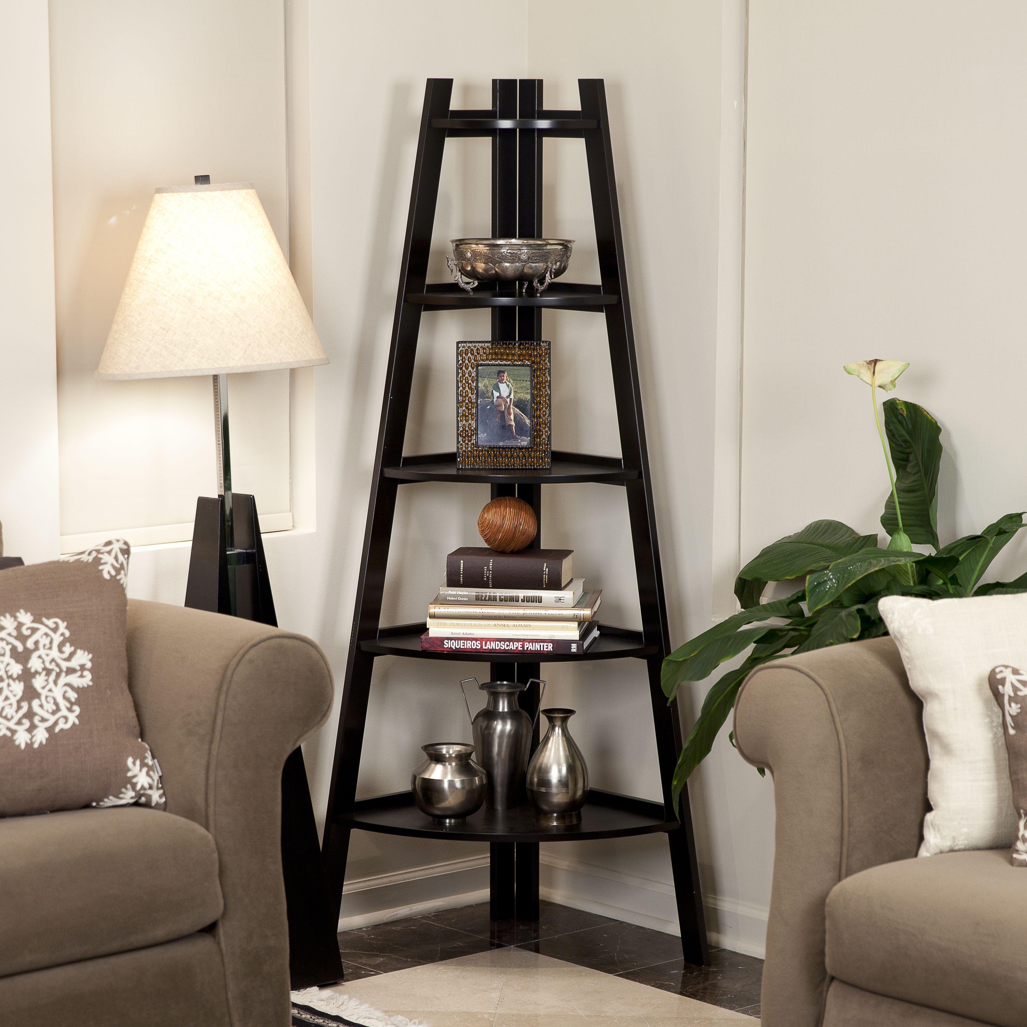 danya b 5 tier espresso corner ladder display bookshelf five tier
