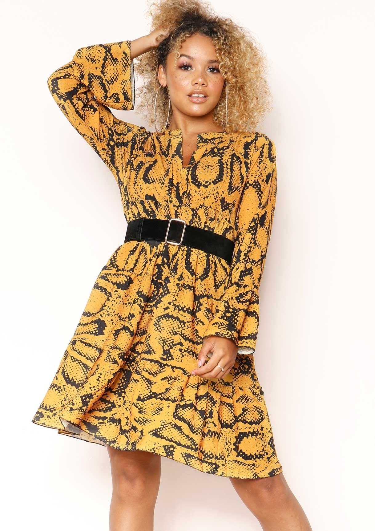 06201ce9cfe7 Clare Mustard Snake Print Smock Dress in 2019 | ⚡ loading new in ...