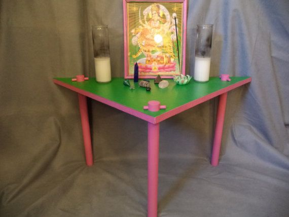 Green U0026 Pink Prayer Meditation Altar Table Triangle By JivanaYoga, $120.00
