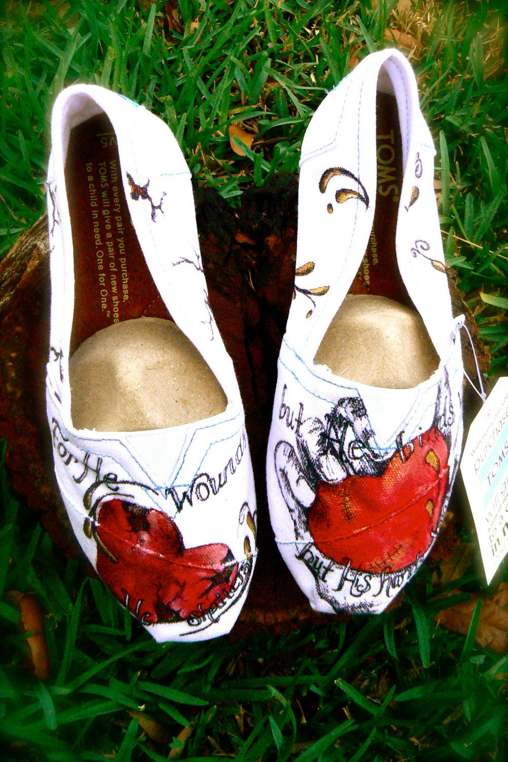 Custom hand Painted Toms shoes The Lords by solereflections. $55.00, via Etsy.
