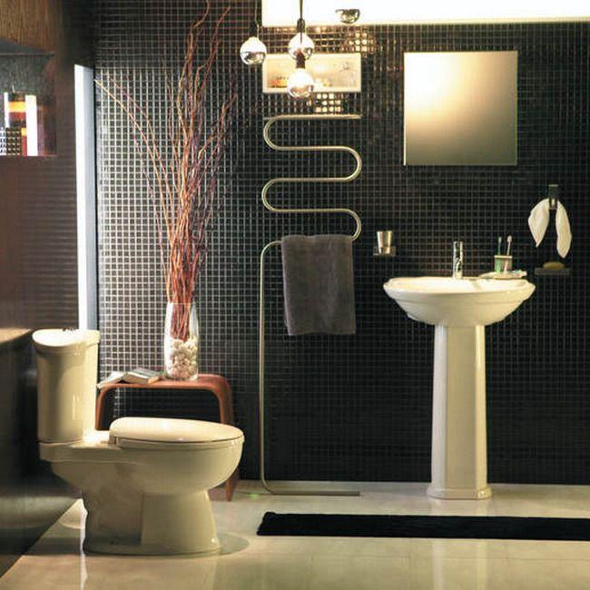 BathroomDecorative Towel Rack Mosaic Black Tile Wall Toilet Seat - Black decorative towels for small bathroom ideas