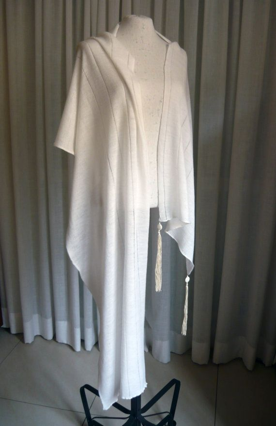 Off white pure wool light weight scarf/shawl/wrap with extra long beaded tassels