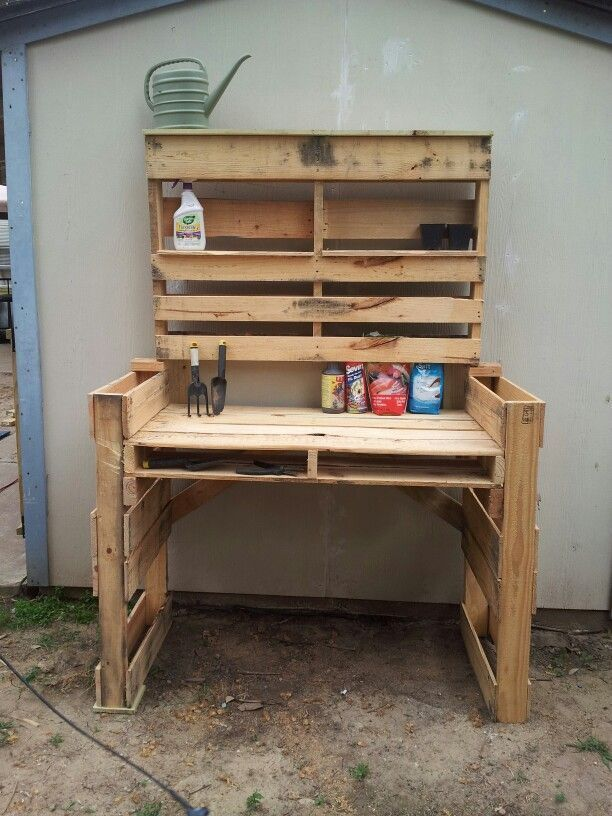 Photo of Pallet table before sanding and painting. – Rustic gardening – Steve Toms – Diy