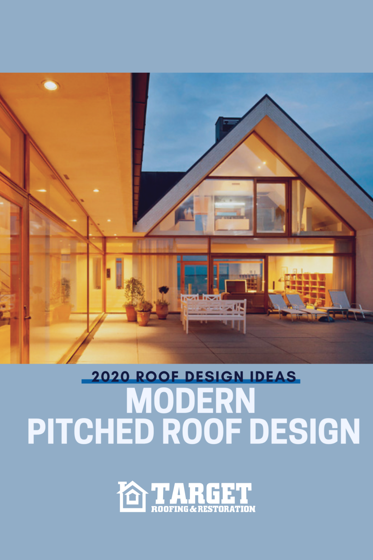 Modern Pitched Roof Design In 2020 Roof Design Roof Restoration Butterfly Roof