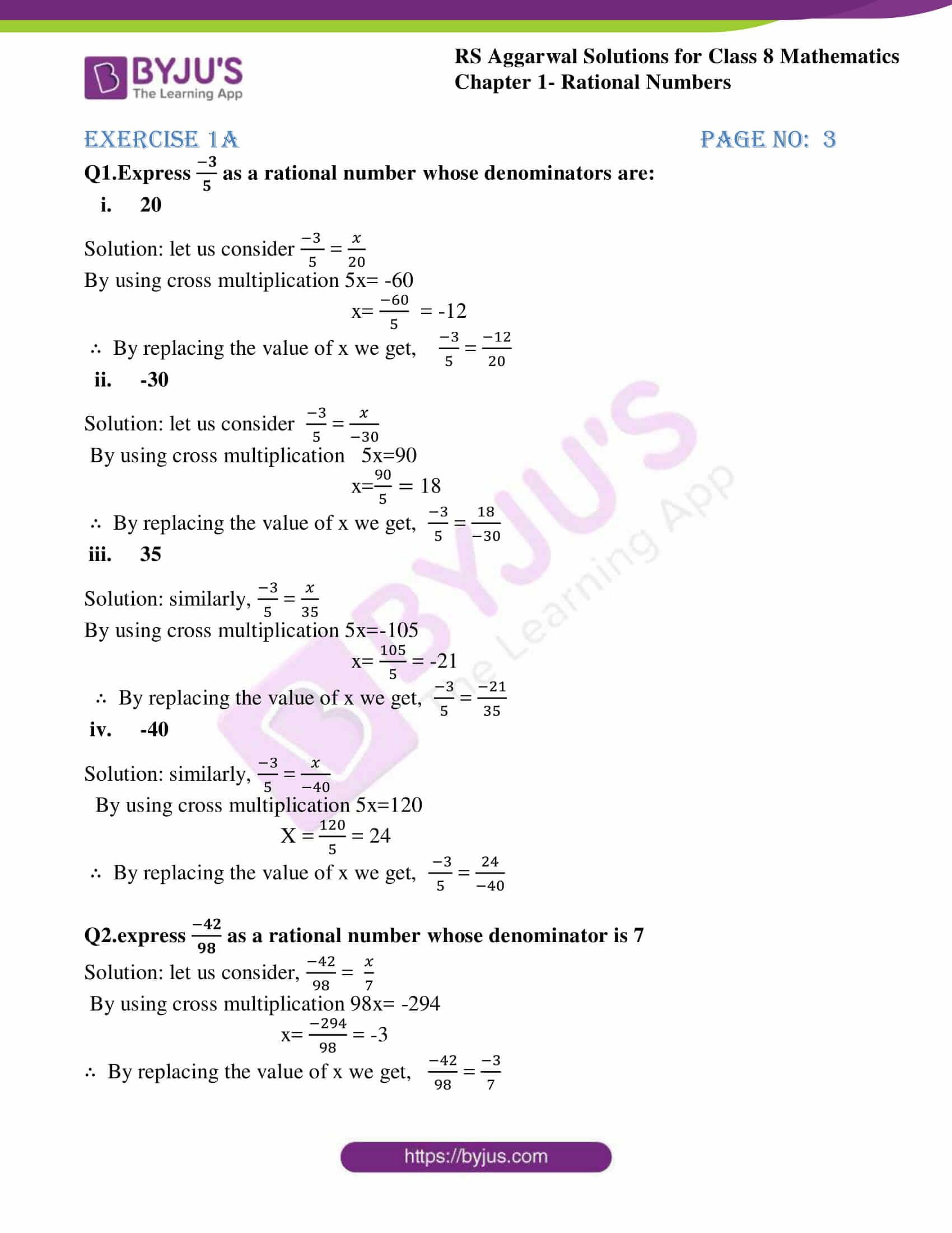 Fresh Ideas - rs aggarwal solutions class 8 maths chapter 1a in 2020