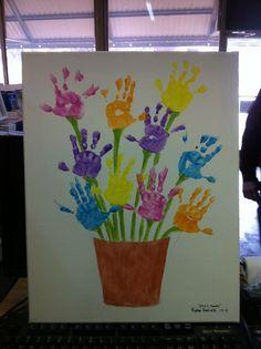 Handprint Flower Pot Art Perhaps A Project For 4 H Green Hands