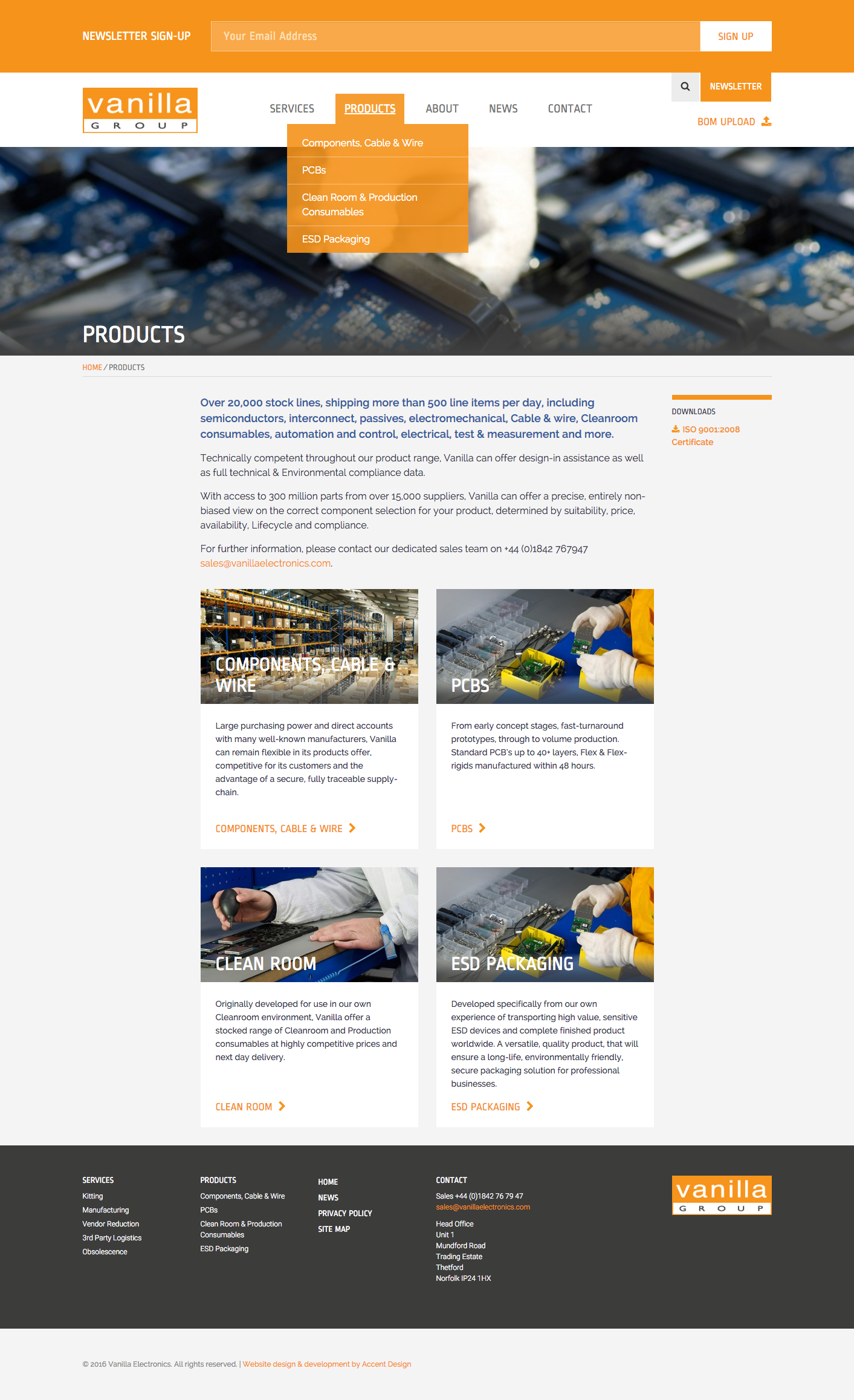 'Products' landing page with Newsletter Signup form and