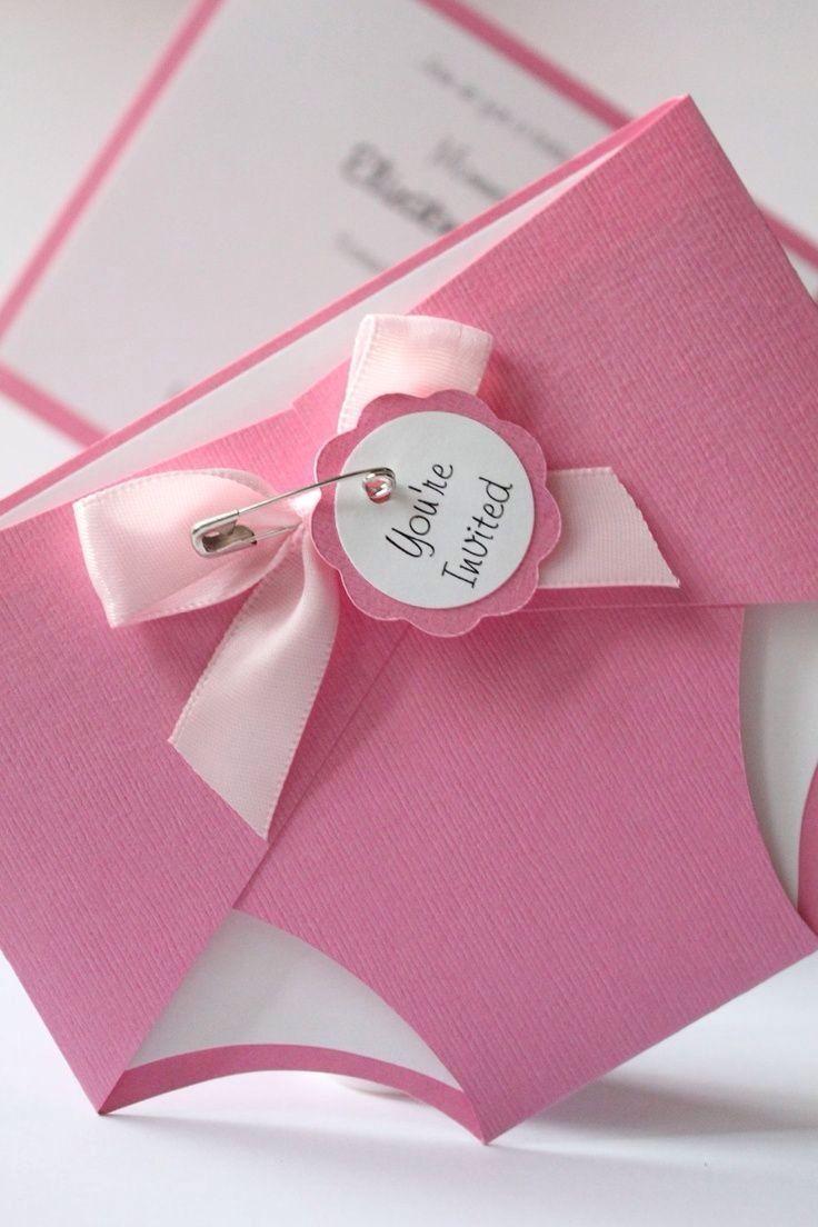 Ideas Tarjetas Baby Shower.Baby Girl Shower Invitation Idea Diaper Shower Diaper