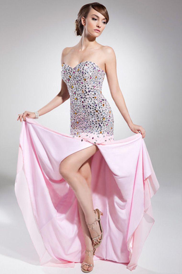 2014 A Line/Princess Sweetheart Sweep Train Chiffon Prom Dress With ...