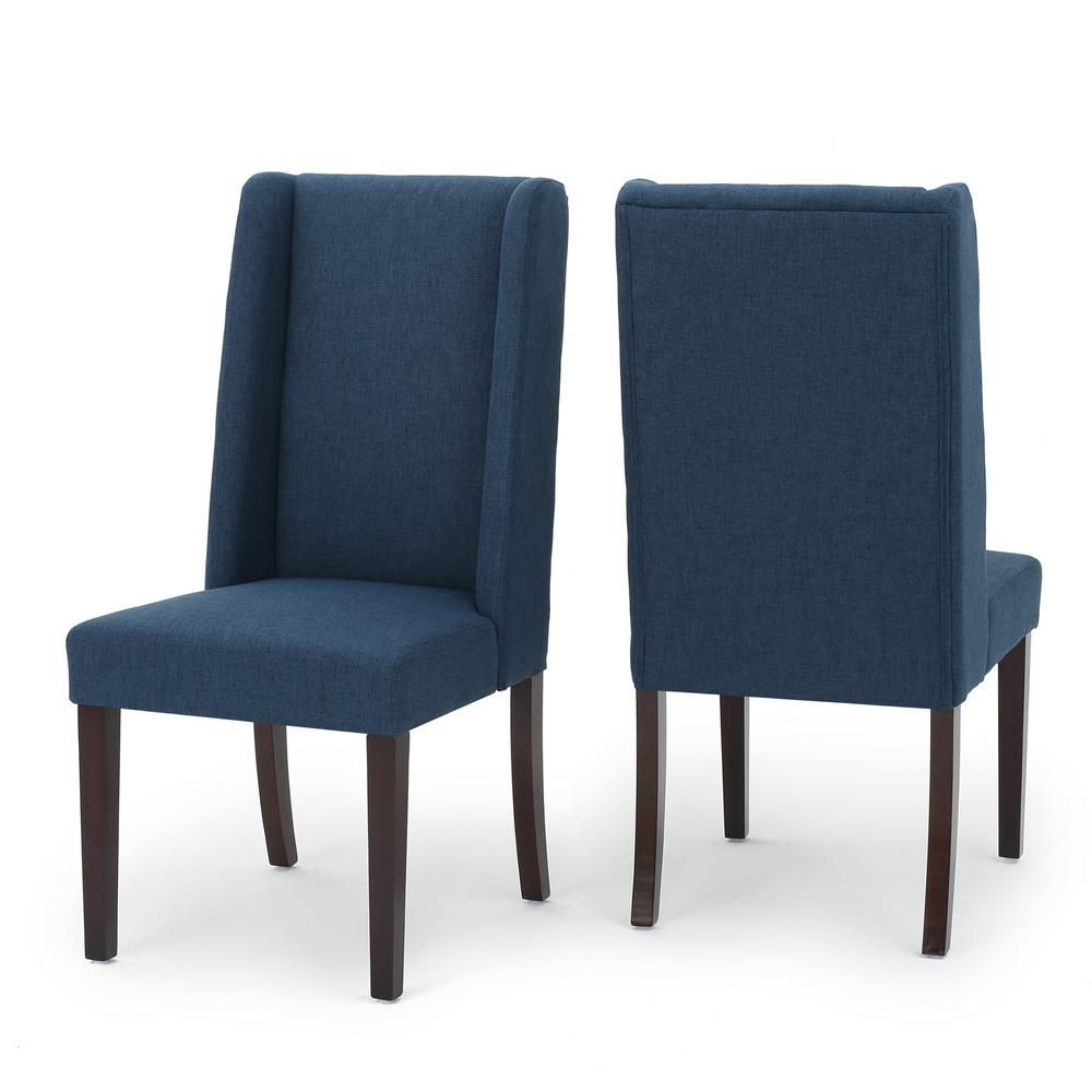 Noble House Braelynn Navy Blue Fabric Wing Back Dining Chair Set