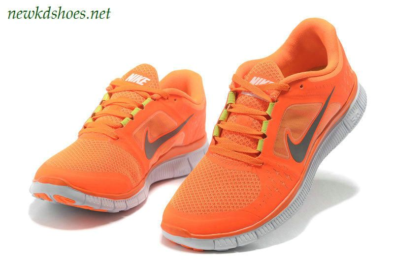 Nike Free Run 3 Vivid Orange Reflect Silver Pure Platinum Neon Green.