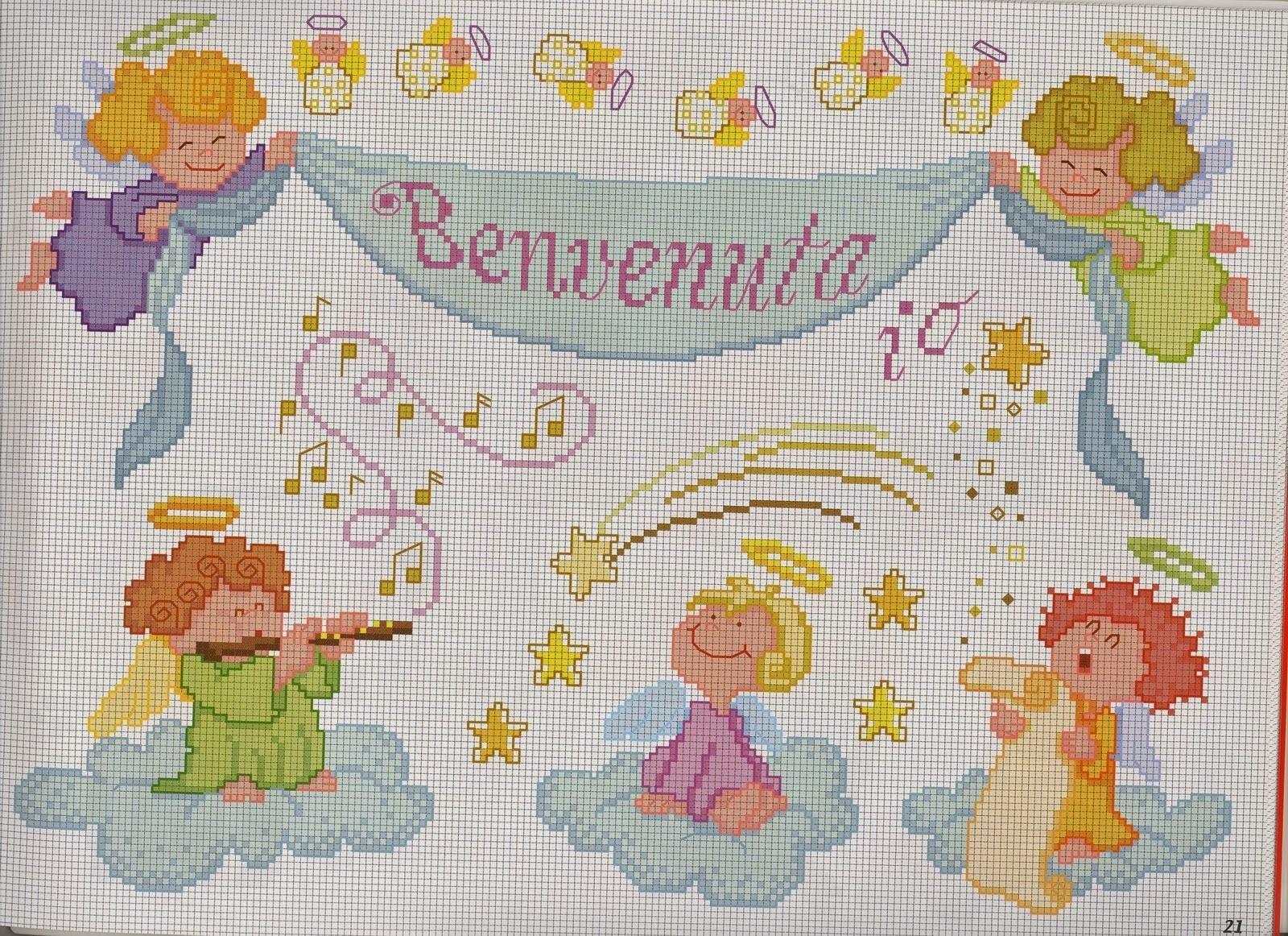 Schemi per il punto croce motivi per bambini a punto croce for Farfalle a punto croce per bambini
