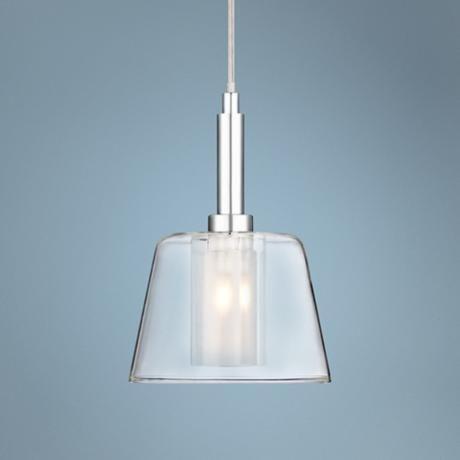 Vesper Glass and Chrome Mini Pendant Light #W8039 | Lamps