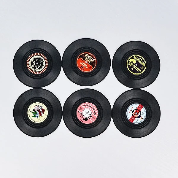 4 6 Pcs Plastic Vinyl Record Coaster Cup Mat Black Retro Mug Coaster Pad Heat Insulation Non Slip Round Coaster Home Decoration In 2020 Cup Mat Vinyl Records Mugs