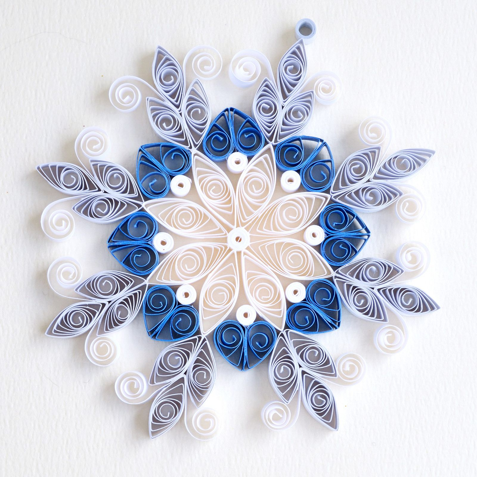 8 Point White And Blue Mix Quilled Ornate Snowflake border=