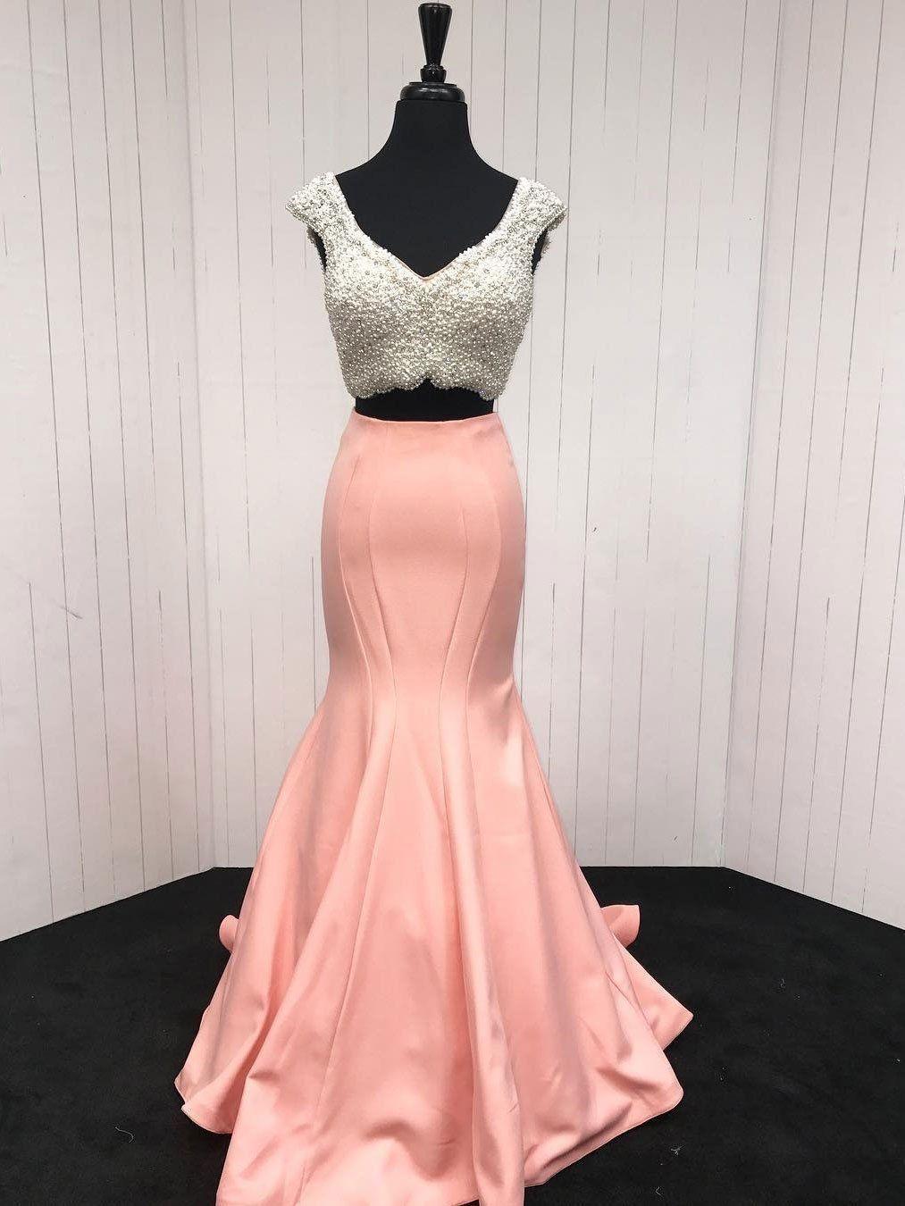 Wonderful satin vneck neckline chapel train mermaid prom dresses