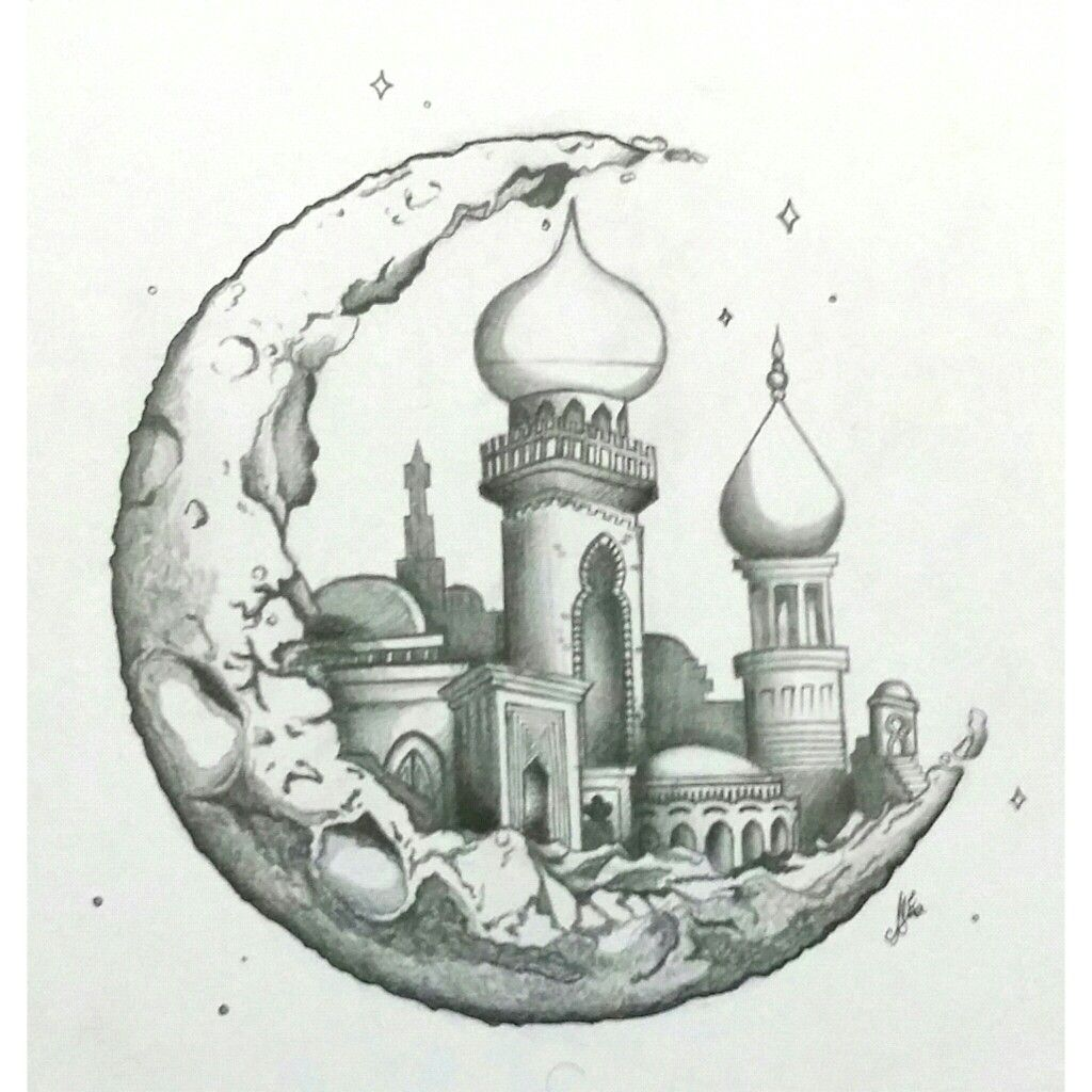 Moon Art Drawing Architecture Islamic In 2019