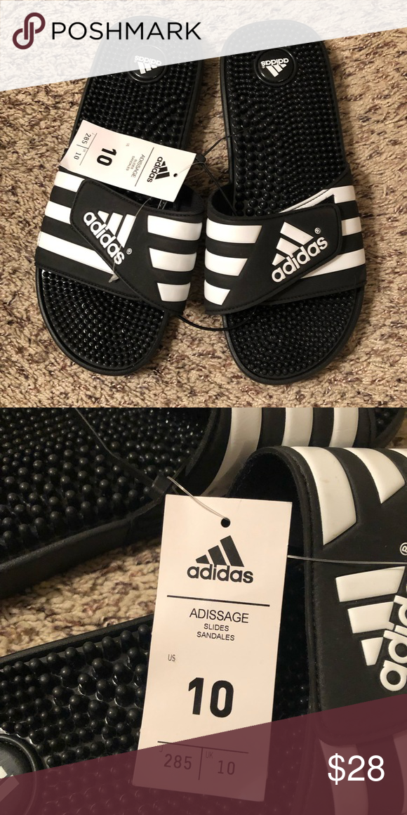 dfecd844e3262 ADIDAS Slides - Sandals - Black and White NWT Adidas Slides. Men s size 10   Women s size 12. adidas Shoes Sandals   Flip-Flops