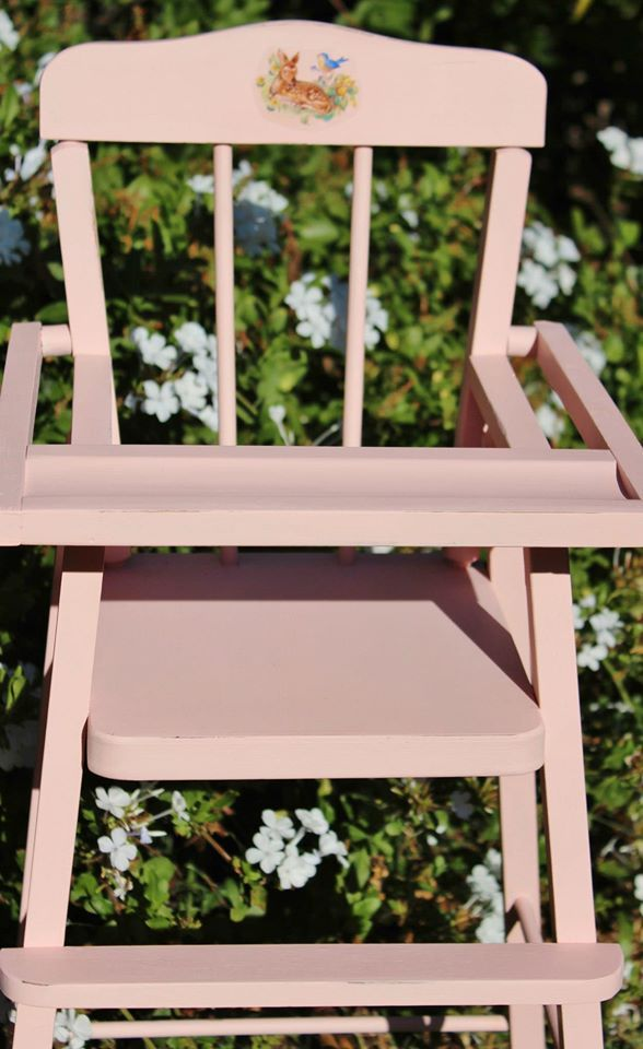 Gorgeous Dolly High Chair We Have Upcycled With Pastel Pink Gorgeous Little Dear Decal Arm Chair Styles Arm Chairs Living Room Cool Chairs