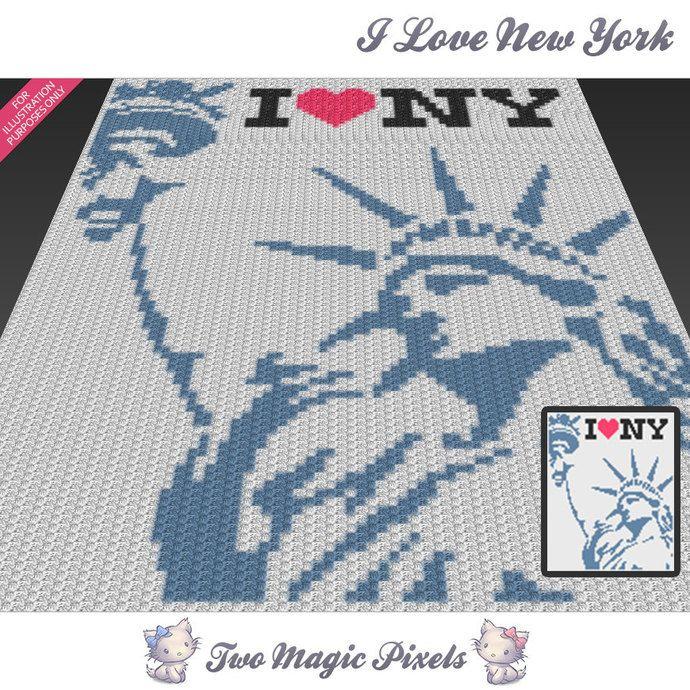 I Love New York c2c graph crochet pattern; instant PDF download ...