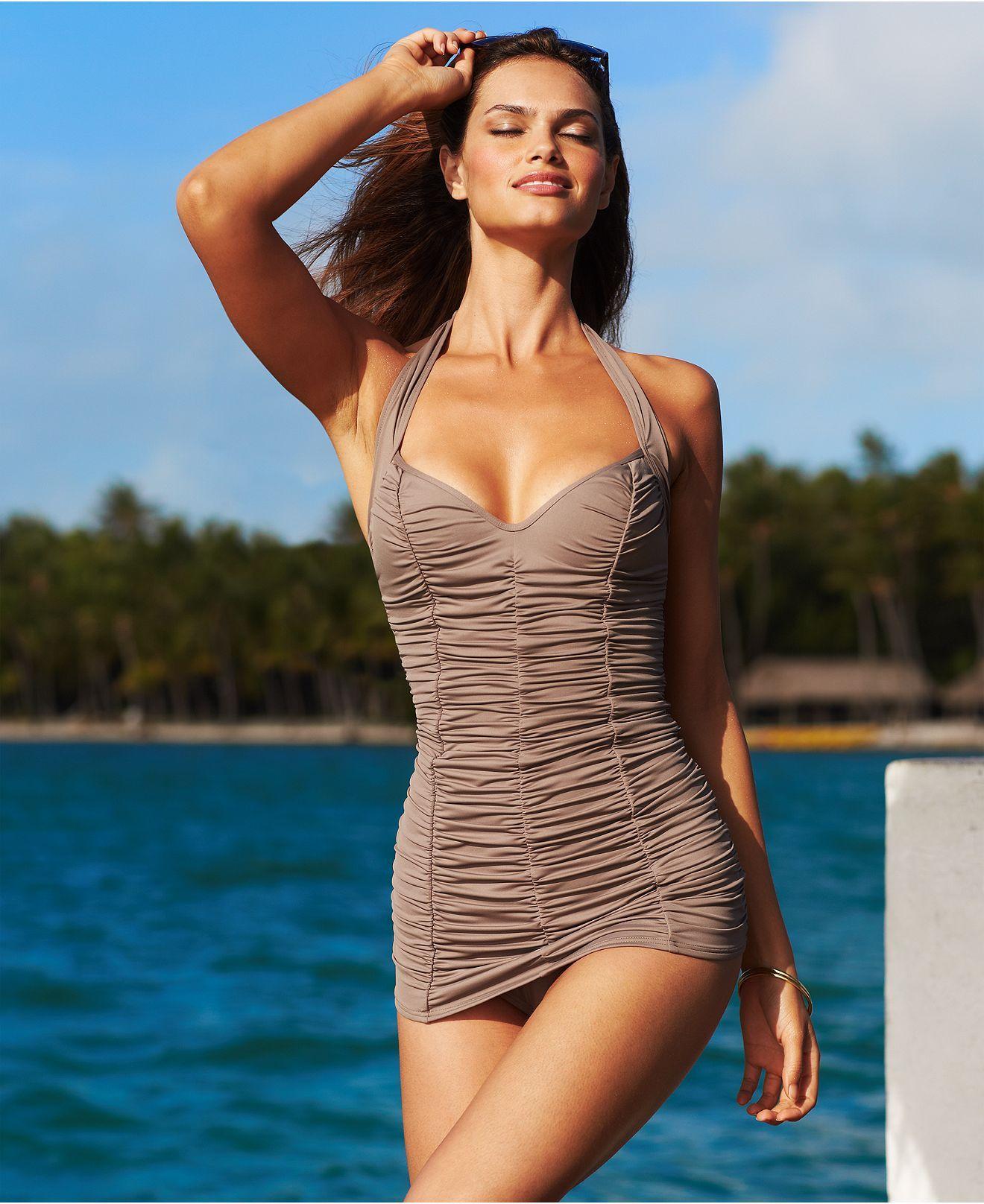 e56849c0cd276 DKNY Swimsuit, Halter Shirred Swimdress - Womens Swimwear - Macys ...