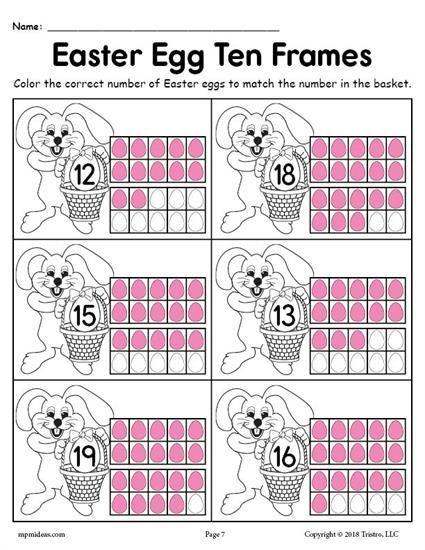 Free Printable Easter Egg Ten Frame Worksheets Numbers 1 20