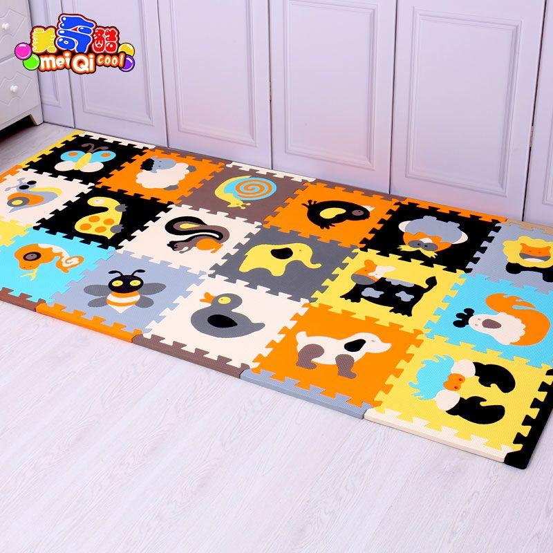 Meiqicool 18pcs With Long Edges Baby Eva Foam Play Puzzle Mat