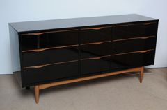 Midcentury High Gloss Black Lacquer And