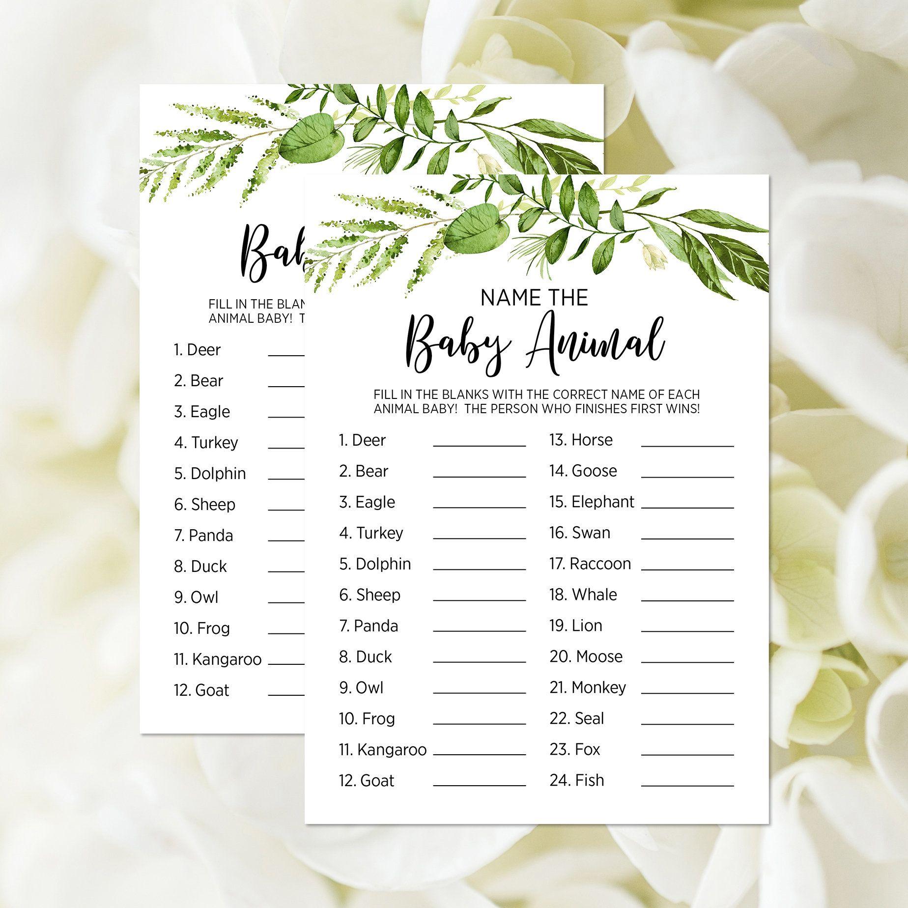 Printable Name The Baby Animal Game Card Baby Animal Name