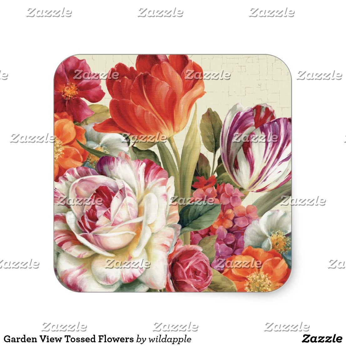 Garden view tossed flowers square sticker