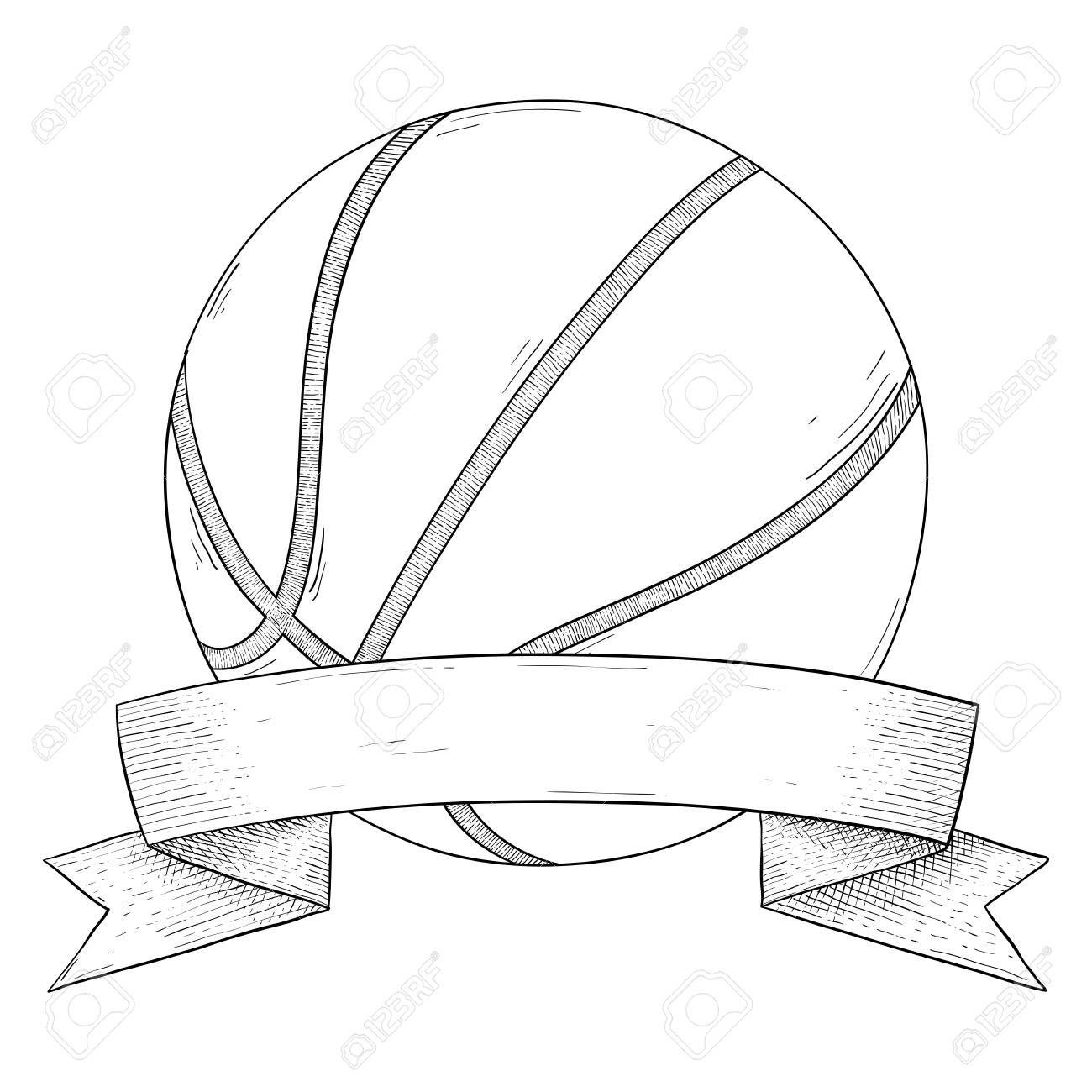 Basketball Ball With Ribbon Banner Hand Drawn Sketch Illustration Ad Ribbon Banner Basketball Basketball Drawings Basketball Anime Basketball Tattoos