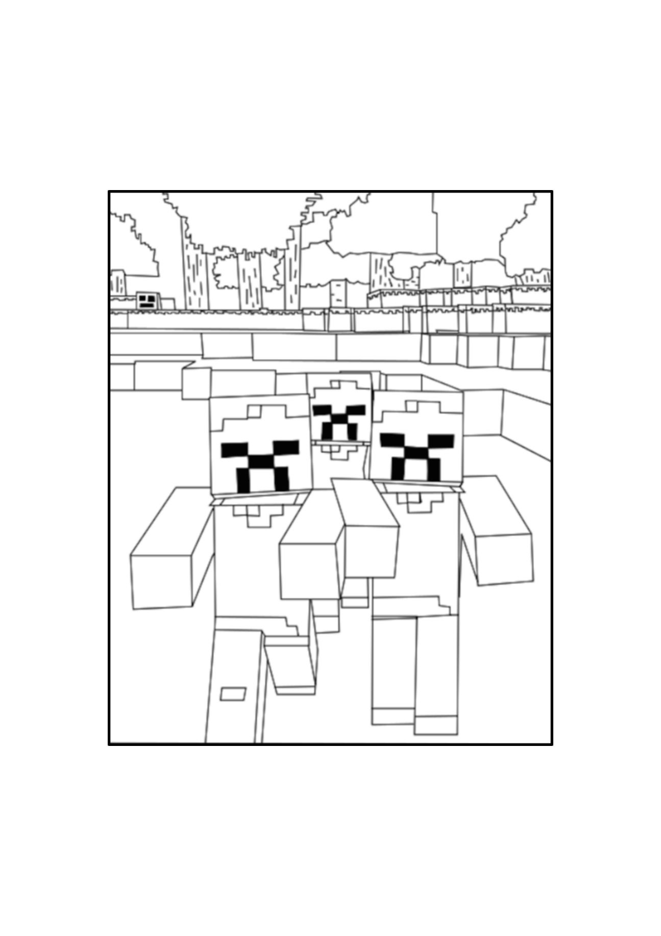 A Minecraft Zombies Coloring Page Minecraft Coloring Pages
