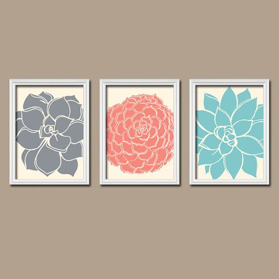 Aqua Wall Decor coral aqua navy wall art, matching bedroom pictures, canvas or