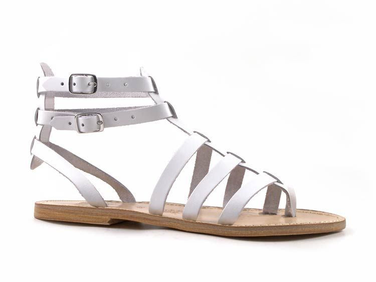 White gladiator sandals for ladies Handmade in Italy in genuine leather -  Italian Boutique
