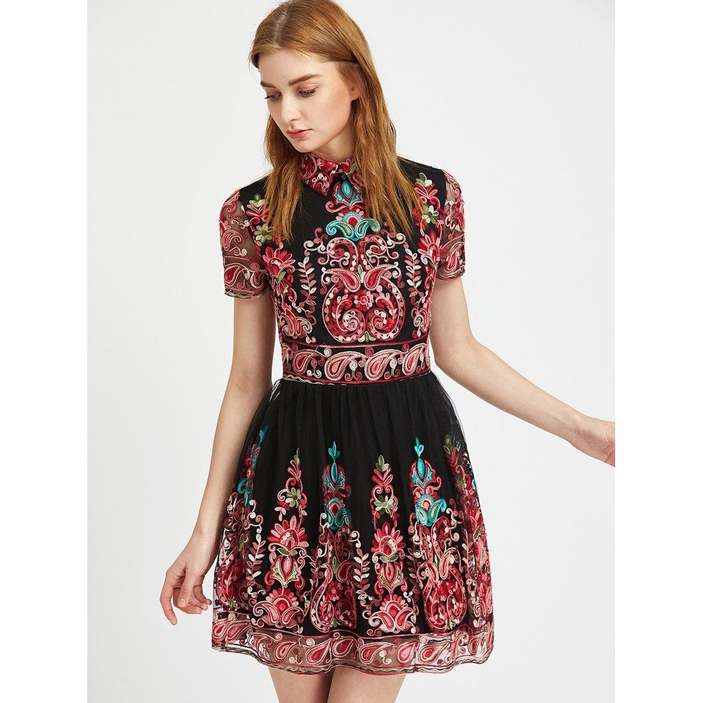 Embroidered mesh overlay skater dress in anabellaus dresses