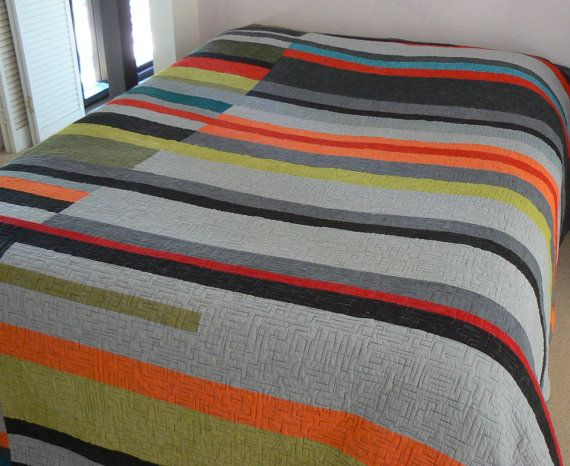 Mid Century Modern Quilt Take 2 Made To Order Modern Quilts Scandinavian Quilts Midcentury Modern