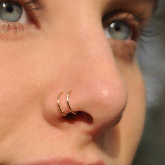 14k Fake Nose Ring, 14k Gold Filled, Double Nose Cuff, NO PIERCING, 20 Gauge, Faux Piercing, Cuff, Body Jewellery, Simple, Plain Nose Ring