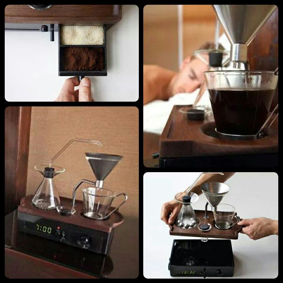 Alarm clock with freshly brewed coffee coffee brewing